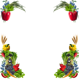 Fruit, Vegetables, Corners, Frame, Border, Peppers