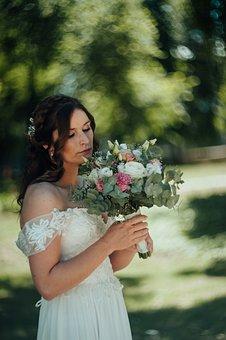 Bride, Portrait, Woman, Hairstyle, Bridal Gown