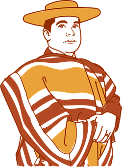 Peasant, Chilean, Man, Ruana, Hat, Cap, Person