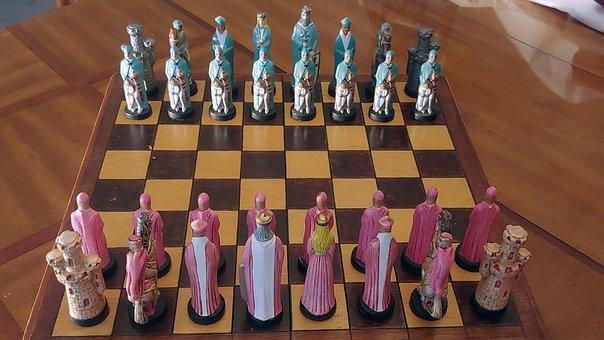 Chess, Ceramic, Wood, Blue Side