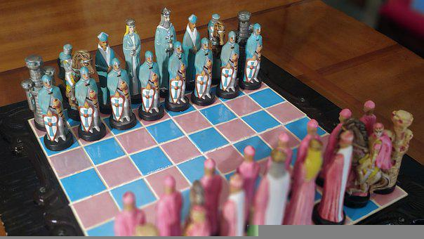 Chess, Ceramic, Pink, Blue