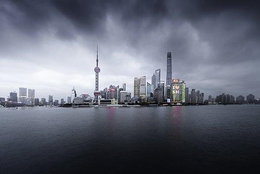 Clouds, City, Buildings, River, Waterfront, Cityscape