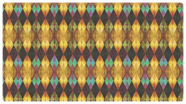 Rhombus, Mosaic, Dramatic, Gold, Copper, Psychedelic