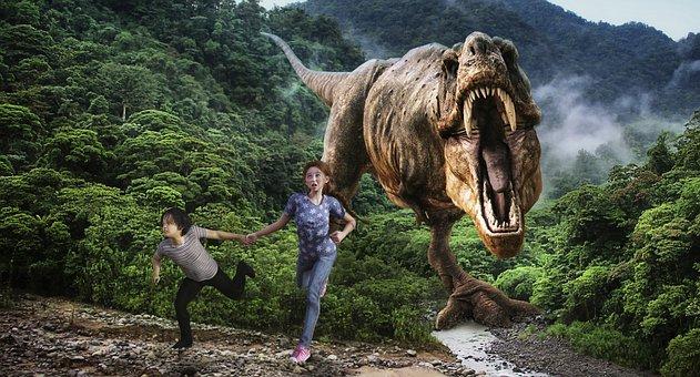 Children, Dino, Forest, Jungle, Dinosaur