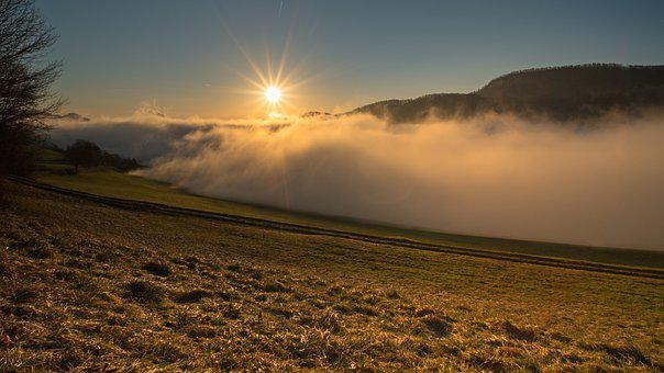 Sunrise, Fog, Hill, Field, Sun, Sunlight, Clouds