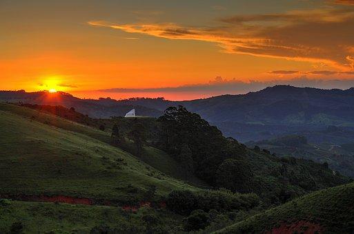 Mountain, Landscape, Sunset, Sky, Forest, Nature