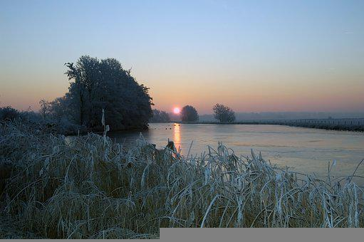 Frost, Sunset, Snow, Frozen, Cold, Wintry, Nature
