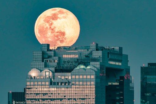 Landscape, Full Moon, Building Roof, Visitor