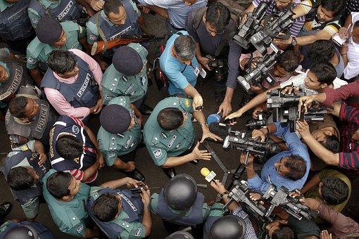Police, Press, Interview, Journalist, Dhaka, Bangladesh
