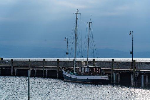 Port, Water, Lake Constance, Ship, Fisherman, Nature