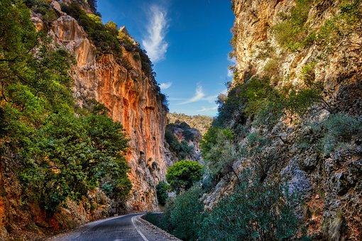 Gorge, Rock Wall, Nature, Rock, Mountains, Landscape