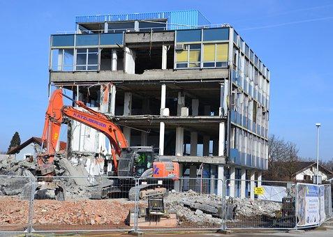 Building, Old, Crash, Destruction, Excavators