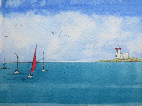 Sea, Ocean, Sailboat, Painting, Seascape, Watercolor