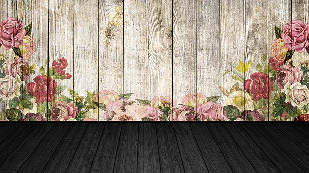 Flowers, Wood Floor, Painting, Space, Architecture