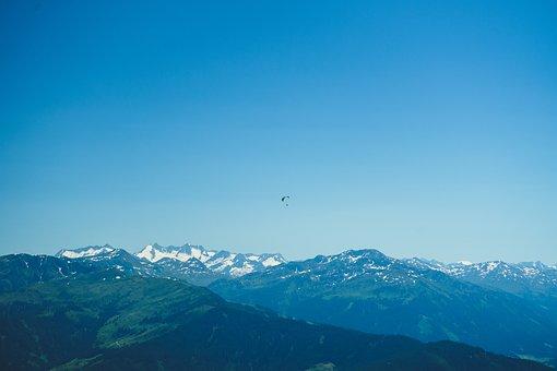 Mountains, Paraglider, Sky, Alps, Blue Sky, Paragliding