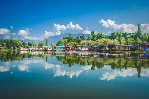 Reflection, Symmetry, Water, Kashmir, India, Mirroring