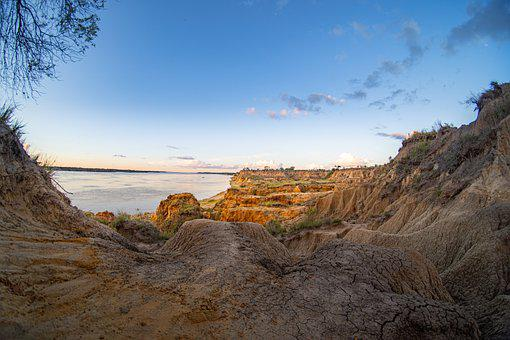 River, Coast, Sunset, Sea, Stream, Argentina, Parana