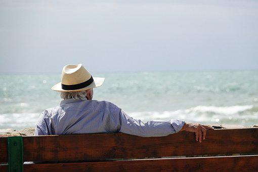 Man, Senior, Bench, Sea, Hat, Waves, Horizon