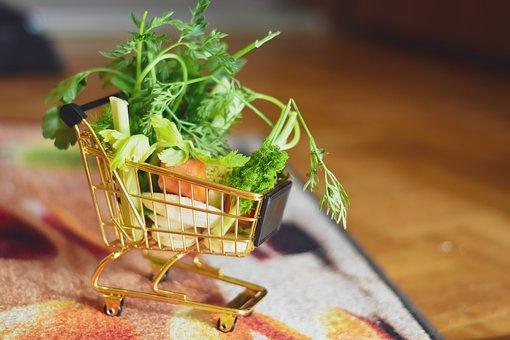 Shopping, Shopping Cart Vegetables, Green, Healthy