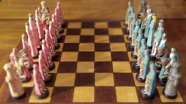 Chess, Ceramic, Side View, Chessboard