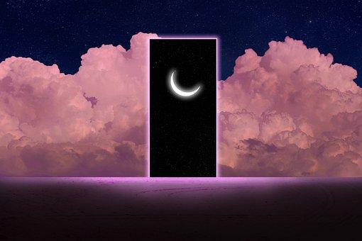 Moon, Clouds, Sky, Stars, Pink