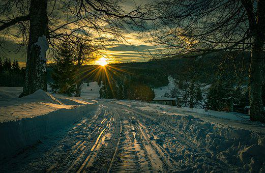 Winter, Snow, Night, Light, Sunrise, Park, Cold