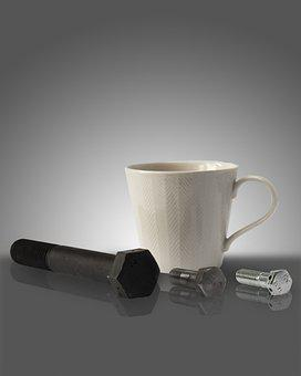 Cup, Coffee, Tea, Mug, Cafe, Drink, Bolts, Work