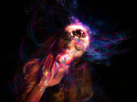 Magical, Woman, Fantasy, Electronic, Face, Lights, Fear