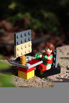 Office, Computer, Toy, Lego, Happy, Figure, Job, Work