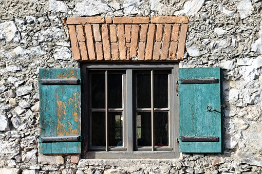 Window, Facade, Antique, Old, Rustic, Stone Wall
