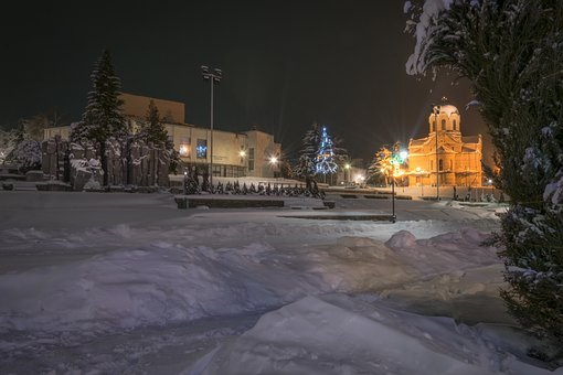 Church, Cathedral, Architecture, Light, Night, Winter