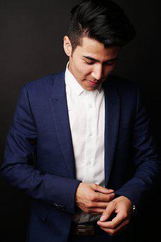 Man, Model, Suit, Business, Adult, Looking Down