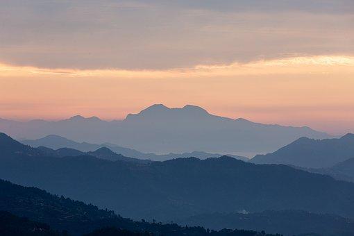Mountains, Fog, Sunset, Sunrise, Dawn, Dusk, Twilight