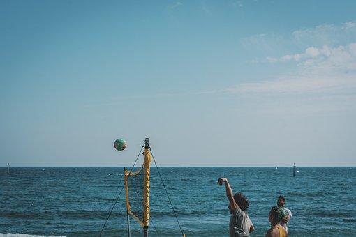 Beach Volleyball, Beach, Sea, Game, Play, Fun, People