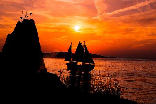 Travel, Ocean, Boat, Island, Sunset, Sunlight, Sea