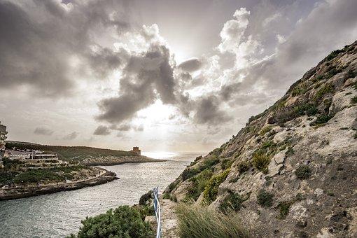 Coast, Ocean, Island, Clouds, Sky, Horizon, Cliffs, Sea