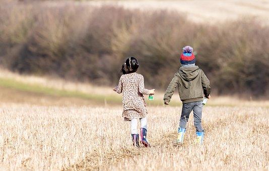 Children, Running, Field, Kids, Happy, Run, Fun, Joy