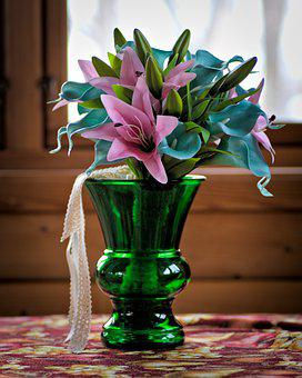 Flowers, Vase, Glass, Ribbon, Lace, Bow, Lily, Buds
