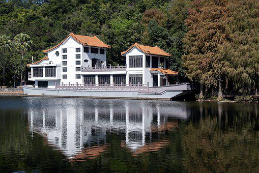 Lake, Boat, House, Building, Reflection, Trees, Forest