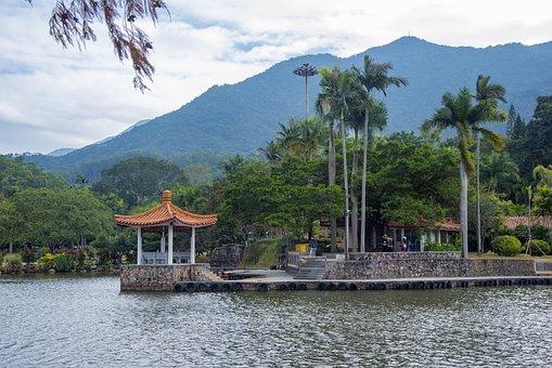 Shenzhen, Fairy Lake, Gazebo, Lake, Mountains, Trees