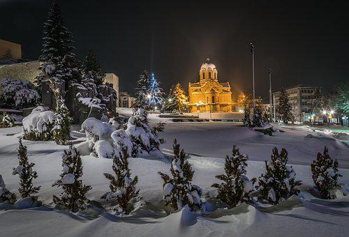 Church, Cathedral, Religion, Light, Night, Winter, Snow