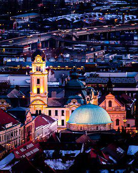 City, Buildings, Church, Tower, Bell Tower, Lights