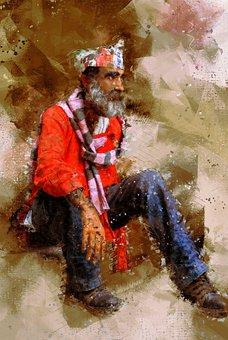 Man, Homeless, Sitting, Male, Hat, Scarf