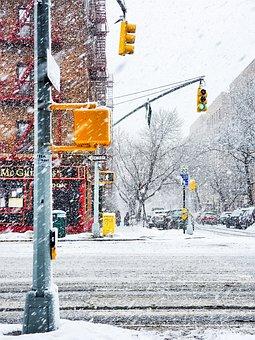 Snow, Snow Storm, Street, New York, Nyc, New York City