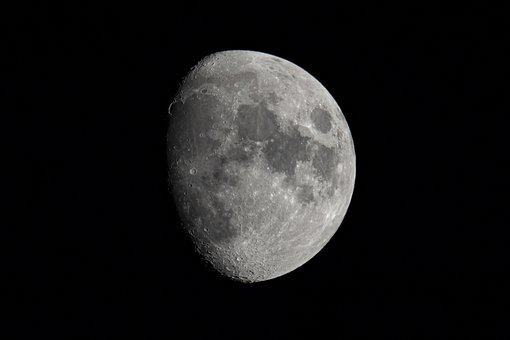 Moon, Craters, Night, Sky, Space