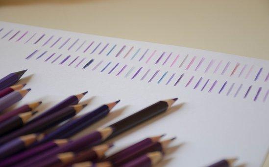 Pencils, Purple, School, Paint, Colorful, Color
