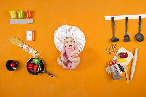 Baby, Kitchen, Flat Lay, Kid, Child, Cute, Happy, Play