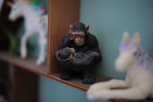Monkey, Baby, Mother, Primate, Ape, Figurine, Toys