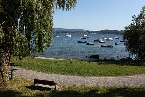 Lake, Boats, Promenade, Park, Trees, Path, Sailboats