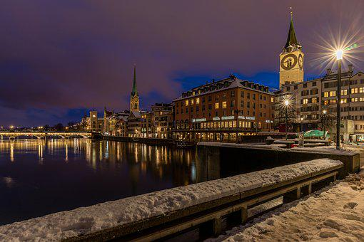 Winter, Zurich, City, Historic Center, Railing
